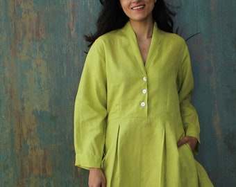 Linen dress, V Neck Linen Dress, Washed Linen Dress, Linen Maxi Dress, Organic Linen, Linen clothing for woman, Loose Linen Dress, Clothing