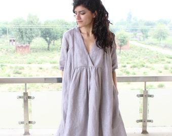 Pure Linen dress Washed linen clothing Linen dress Linen tunic Plus size tunic top  loose linen tunics