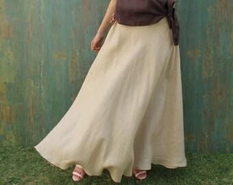 Long Linen Skirt Elastic Waist Full Circle Flared Skirt for women with Pockets  Flared maxi Skirt Customized Plus Size Skirt