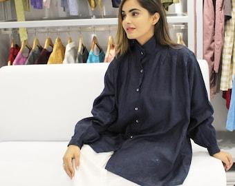 Oversize Loose Fit Linen Shirt Blue Linen Shirt High Collar Linen Blouse Button up Pure Linen Top Comfortable Plus Size Shirt