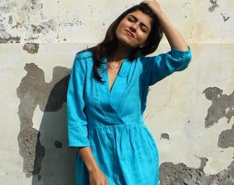 Linen Deep V-Neck Dress Smocked Midi Dress Loose Linen Dress Plus Size Clothing 3/4 Sleeve Linen Dress Linen Clothing Washed Linen