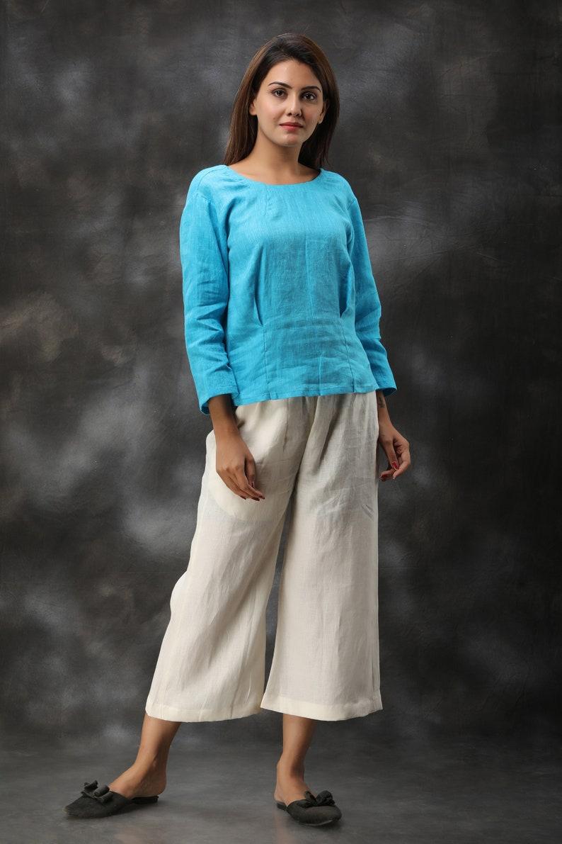 Natural Linen Tunic Linen Blouse Linen Top Womens Linen Blouse Round Neck Loose T-shirt Everyday Tunic Long Sleeves Linen Shirt