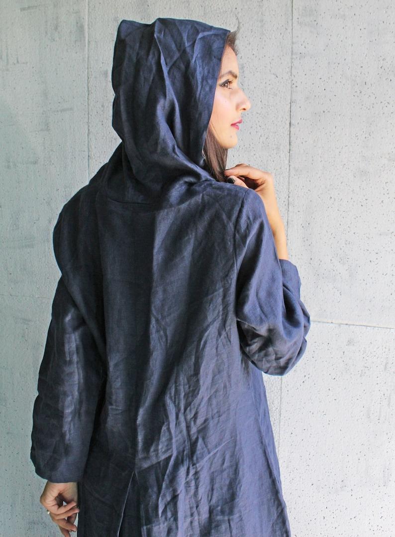 Washed Linen Overalls Blue Linen Dress 100/% Linen Dress Hooded Dress