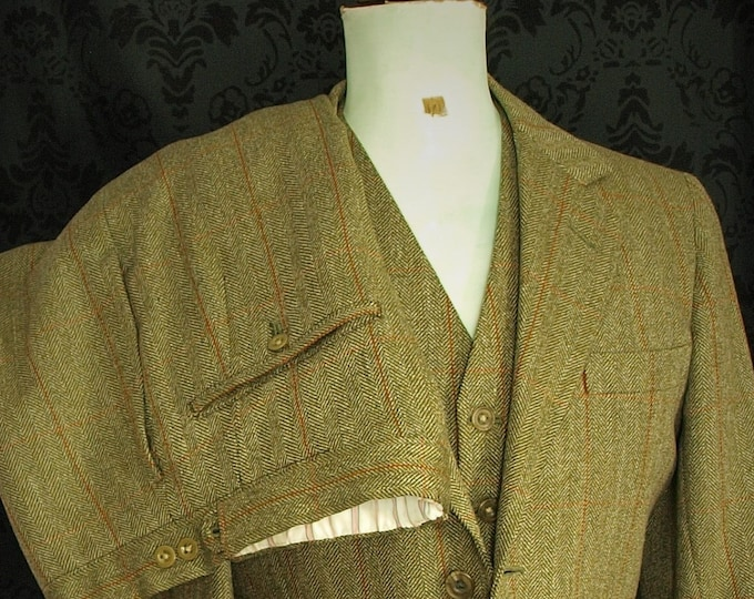Sold...Rare Superb Mens Savile Row Quality Bespoke Tweed 3 piece Suit size 34 to 35 chest extra small 28 to 29 Waist  29 Leg...Sold