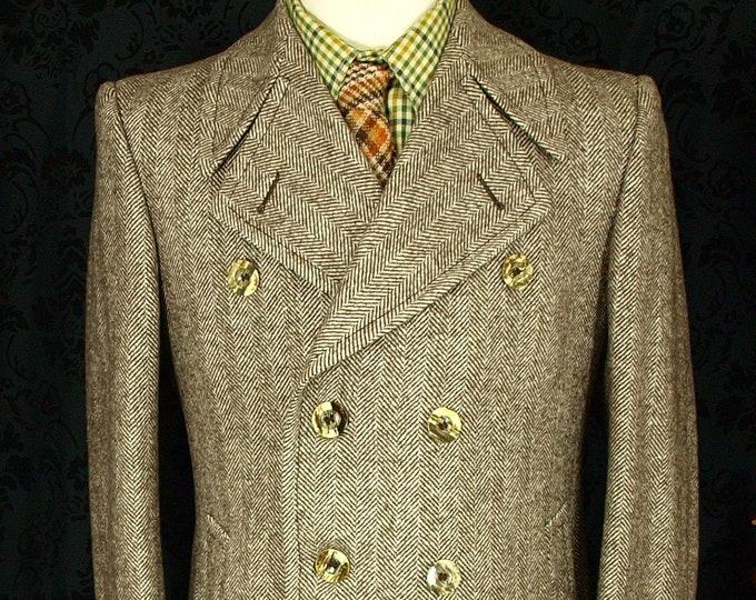 sold... Mens Jaeger Vintage Tweed Coat Overcoat Size 40 medium ....sold