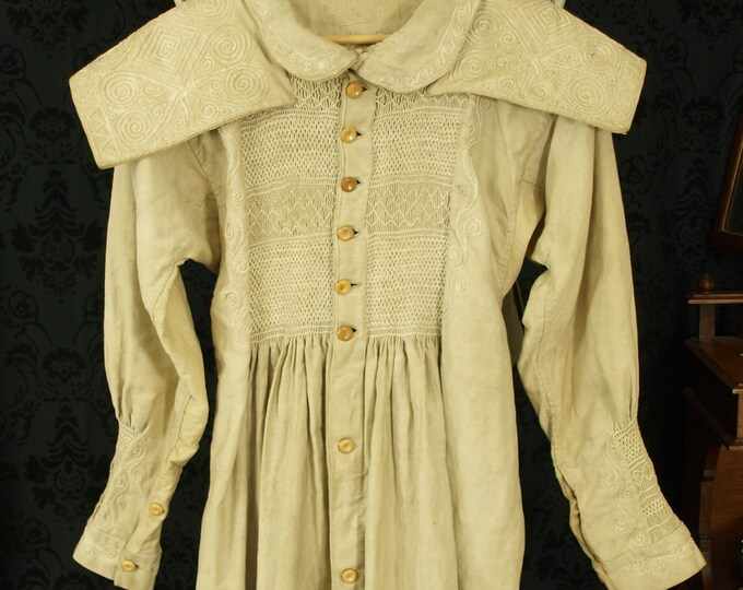 sold...Antique 19th Century 1800 to 1850 embroidered working agricultural Smock Coat Museum Quality...sold