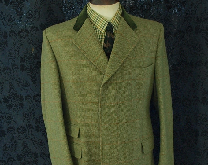 New Bladen Country Tweed Paddock Overcoat Coat with Velvet collar ina size 42 to 44 inch large