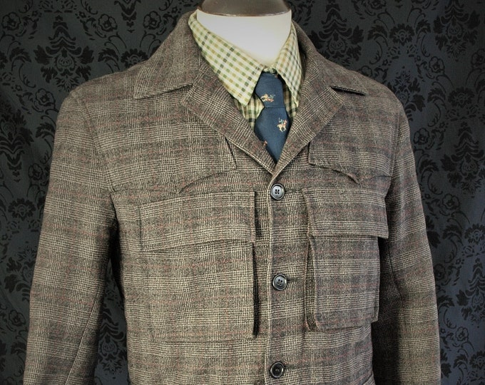 Interesting Mens Paul Smith Graphite Grey Tweed Country Norfolk Style Jacket in a size Slim 38 inch Small