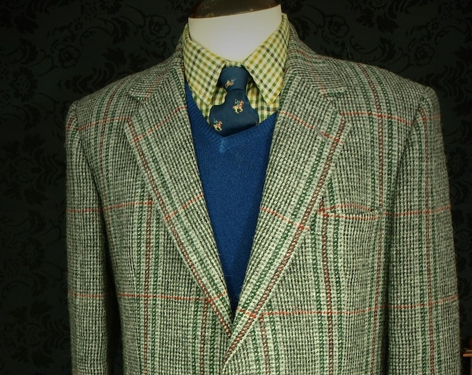 Mens Vintage DAKS Dusty Grey Shetland Tweed Jacket in a Size 42 inch Large