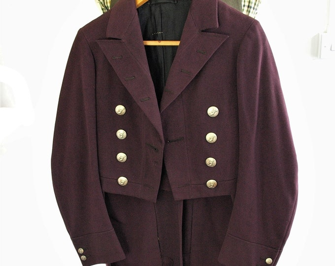 Amazing Vintage Mens Victorian Hunt Livery Dress Tail Coat with pewter Stag Buttons Very Small size