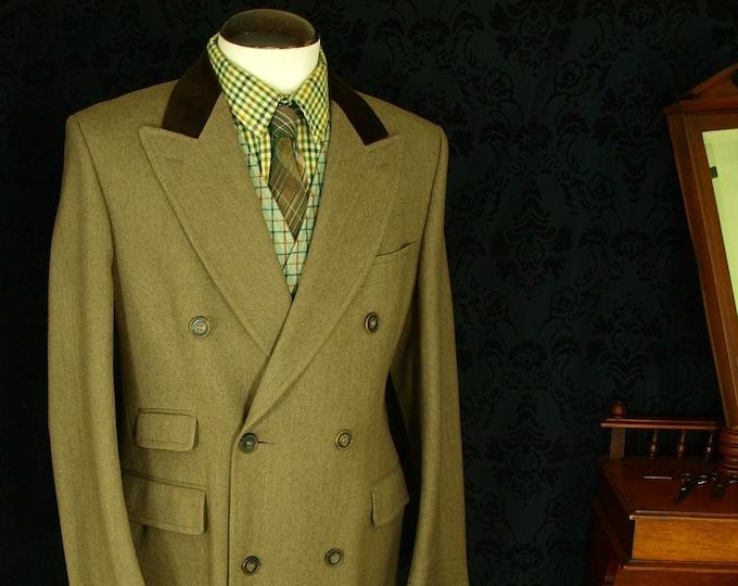 SOLD .. Swaine & Adeney Mens Covert Coat Overcoat Vtg Tweed style Velvet 40 / 42...SOLD