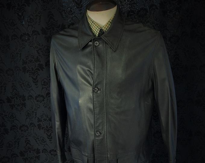 Quality Mens Vintage Luxury DAKS Black Soft Leather Coat Jacket in a Size 44 inch  Large