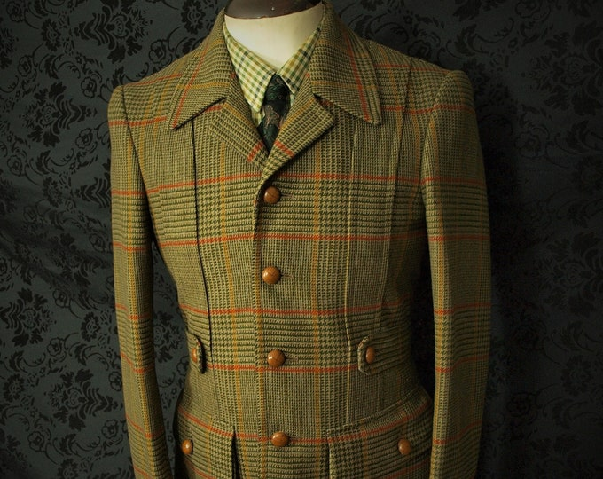 Unused Vintage Deadstock Mens Quality Classic Essex Bladen Tweed Full Norfolk Jacket Blazer in a hard to find size 36 inch extra small