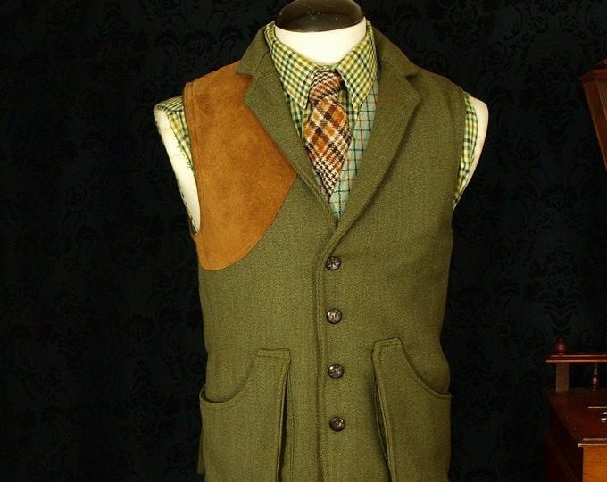 sold.... Keepers Tweed Shooting Hunting Waistcoat Gillet Suede 36,,,,sold