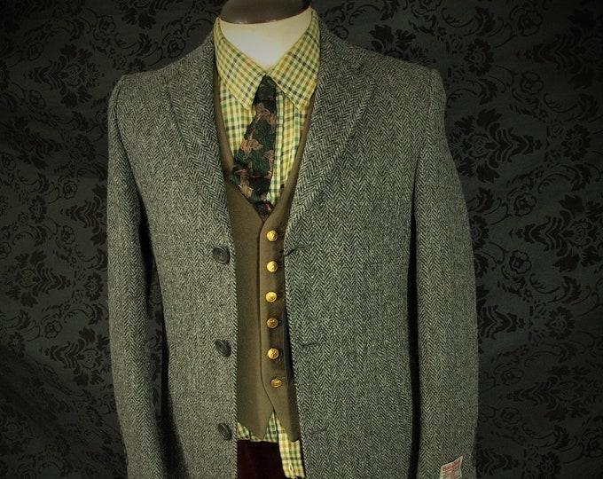New Mens Harris Tweed Overcoat Coat Paisley lining 32 34 extra small