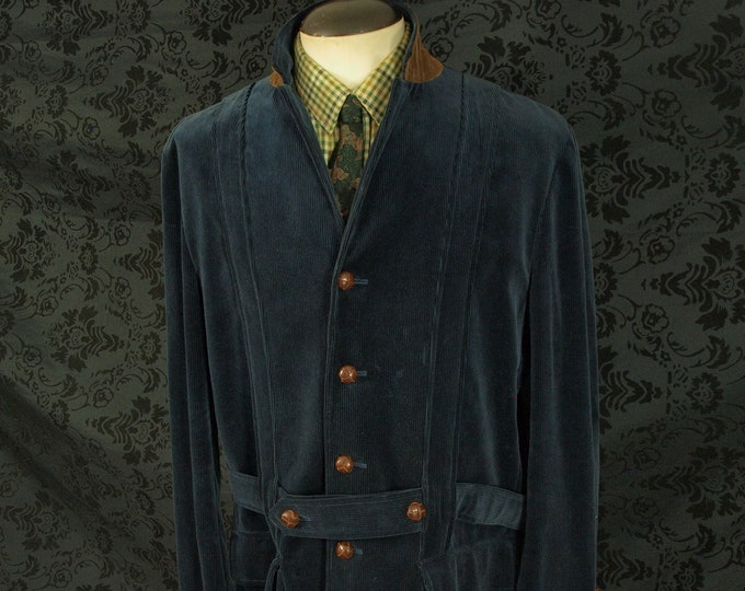 Stunning Mens Ralph Lauren Cord Navy Blue Country Norfolk Jacket Size 44 Large