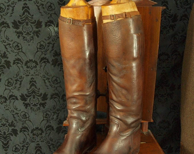 Mens Ladies Vintage Antique Leather Riding Boots Wooden Trees Peal & son
