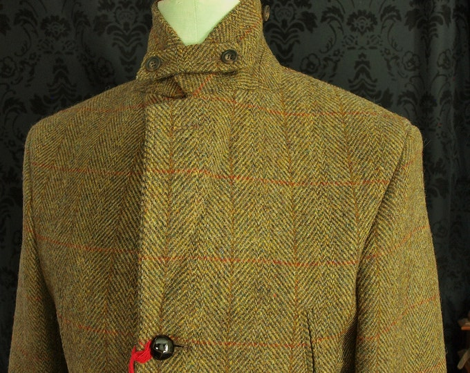 New  Mens Harris Tweed Norfolk Country Jacket in a Size 34 inch chest extra small working cuffs storm collar