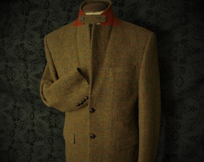 Mens Marks and Spencer Harris Tweed Hacking Jacket in a Size 38 Inch small slim 40 medium