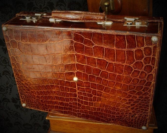Sold.....Superb Vintage Antique Genuine Crocodile Leather Small Suitcase Briefcase Circa 1920s 30s....Sold
