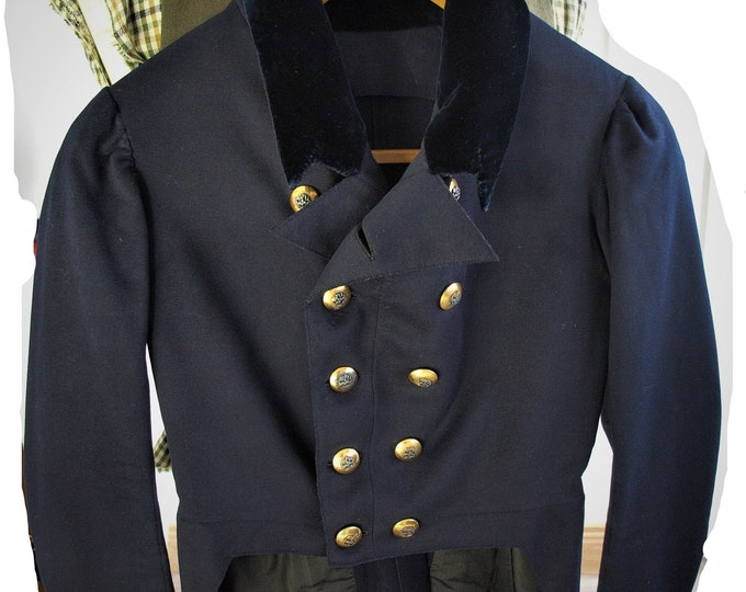 Sold...Amazing Genuine Mens Regency early Victorian Dress Tail Coat 32 inch chest Extra Small Museum Collectors Piece...Sold