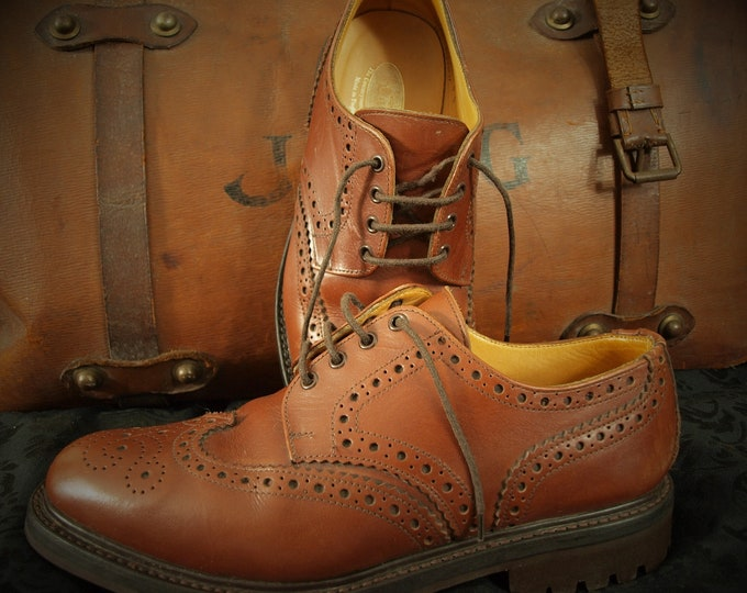 Mens John Brocklehursts LOAKE Edward Country Brogue Commando Rubber Soles Goodyear Welted Shoes Size 9 1/2 RRP 265