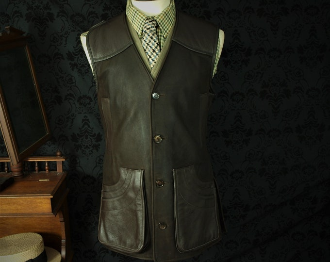 SOLD.....Wested Leather co Rare Superb Quality Leather Hunting Shooting Gilet Waistcoat ...SOLD