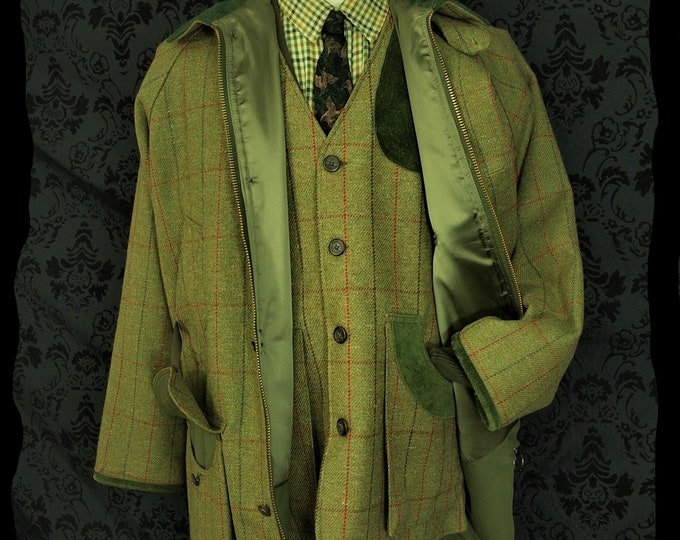 Unused Mens Crowther Bespoke Hunting Shooting Tweed Coat and Waistcoat Gilet in a  Size 42 inch Large