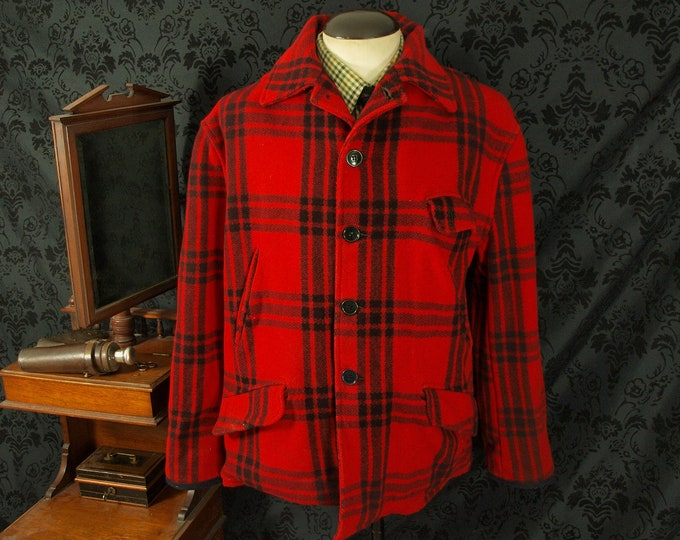 Mens Vintage Higgins Plaid Wool Hunting USA Makinaw Lumberjack Jacket Coat 48