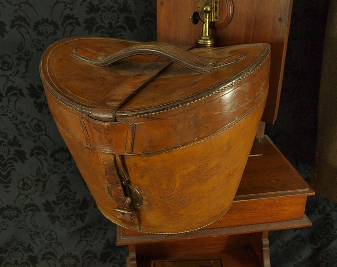 Vintage Antique Mens Army and Navy Leather Case and Christys Silk Top Hat