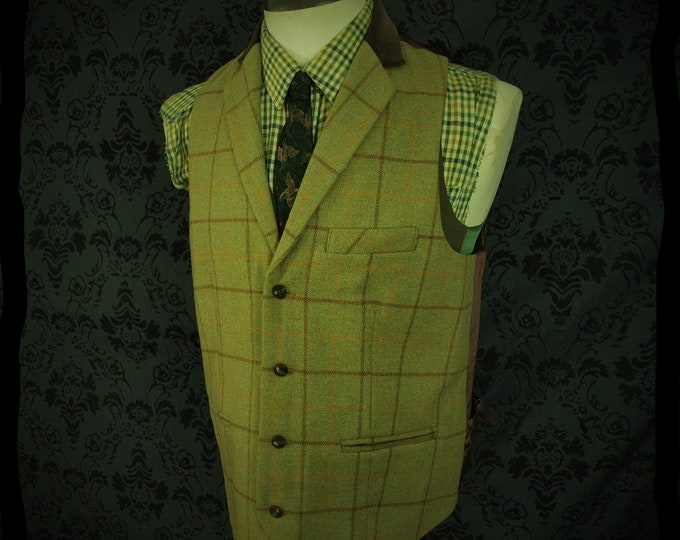 Mens Classic Brand Tweed Country Waistcoat with Velvet Collar Size 42 Large Long