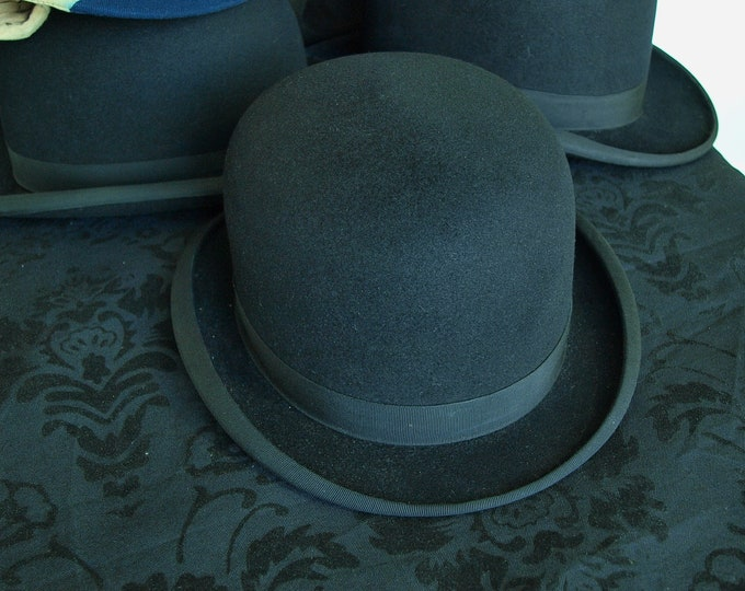 Mens Ladies A J White Vintage Equestrian Riding Hard Bowler Hat 52 cm Small