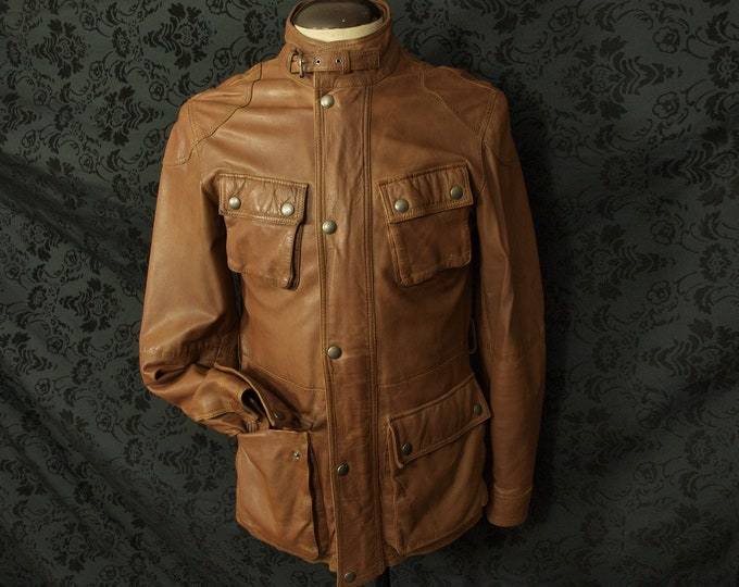 Mens Hackett Safari Country Norfolk Style Jacket Coat in Soft Lambs Leather a 36 inch extra Small