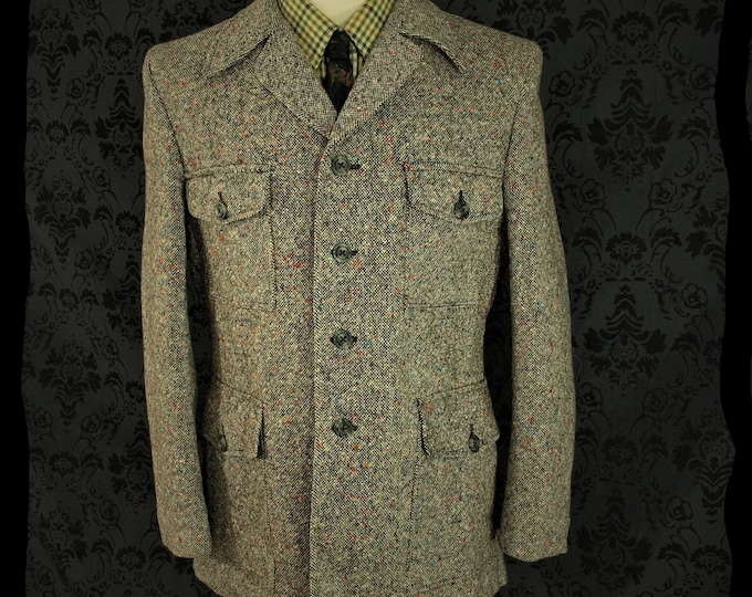 Amazing tweed colourway Rare unused Mens Vintage Donegal irish style Tweed Marks and Spencer Jacket in a Size 42 to a slim 44 Large