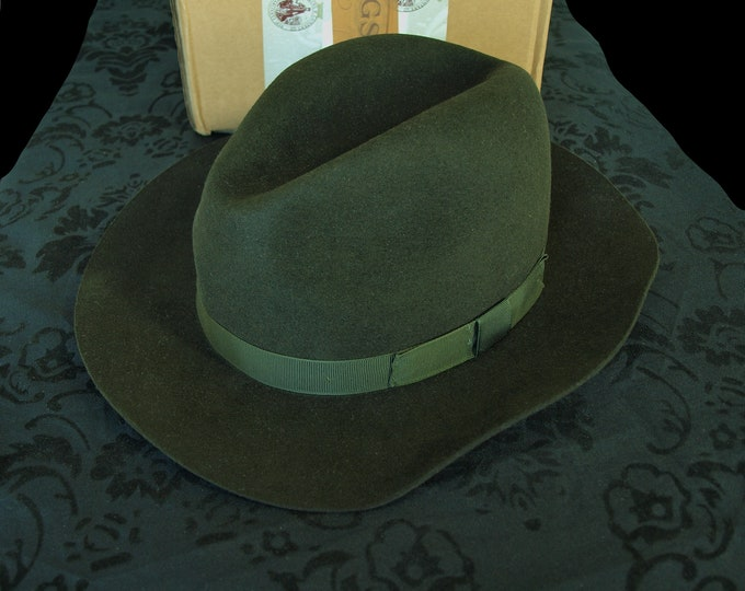 Men's Christys' 100% Wool Hand Made Fedora Trilby Hat Brown 57cm L rrp 150