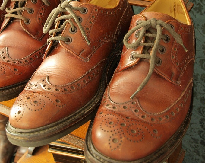 Mens Hoggs of Fife Glengarry Brogue Country Shoes Commando Sole Size UK 7 RRP 319.99