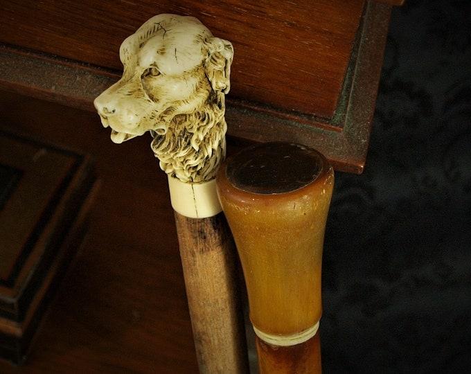 Vintage Antique Mens Malacca Pommel Bone Walking Stick Resin Dog Hazelwood Cane