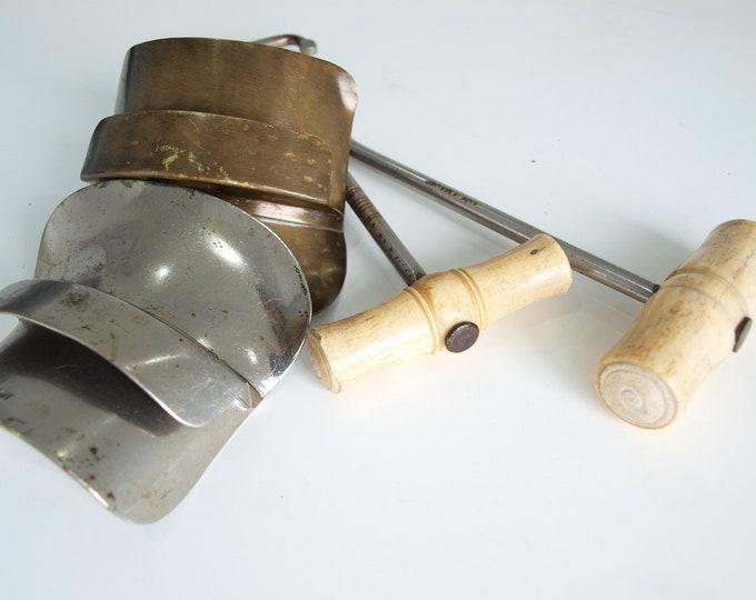 Good Antique Vintage Bone Boot Pulls and Brass Steel Sliders Set