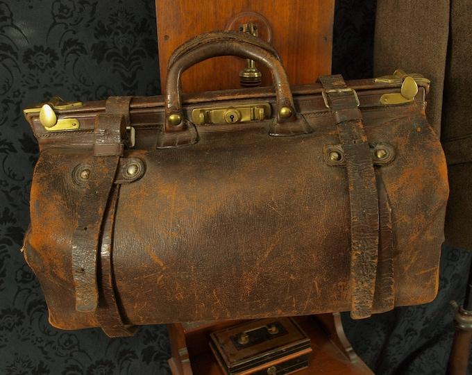 Antique Vintage Leather Gladstone Doctors Bag with Brass Locks