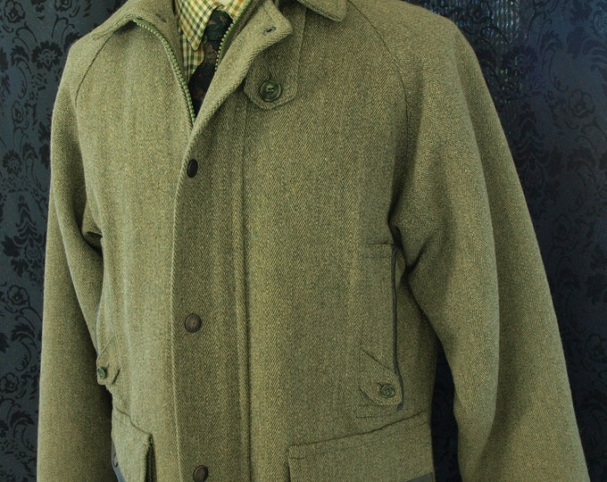 Mens Beaver of Bolton Derby Tweed Leather Detailing Shooting Hunting Coat 40 med , MISSING STORM COLLAR