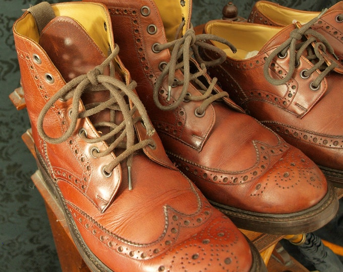 Mens Hoggs of Fife Glencarse Brogue Country Boots Commando Sole 7 RRP 299.99