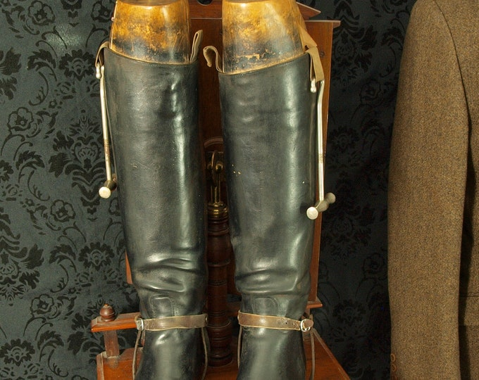 Mens Ladies Vintage Antique Leather Riding Boots Wooden Trees faulkner & son