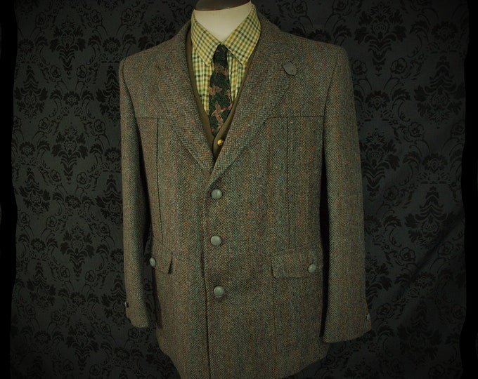 Mens Vintage Norfolk style with faux suede Tweed Jacket in a Size 42 inch Large
