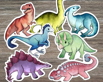 24 Sheet Set Trendy Dinosaur Sticker Sheets with Colorful Fun Dinosaurs and Action Words