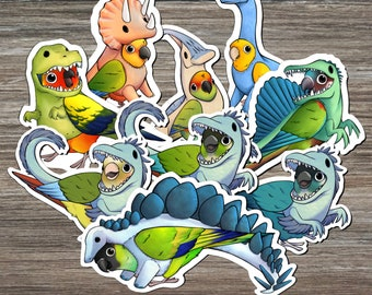 COMPLETE SET of Conuresaur™ STICKERS: Sun, Green Cheek, Jenday, Golden, Gold Cap, Painted, Nanday Conure • Dinosaur Stickers • Conure Lover