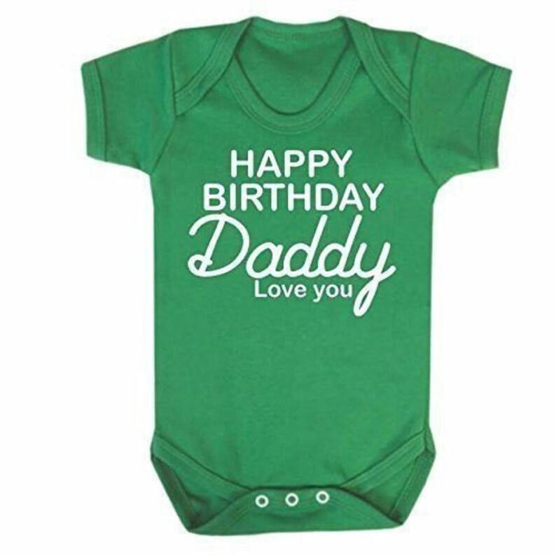 Reality Glitch Happy Birthday Daddy Grey Short Sleeve Babygrow