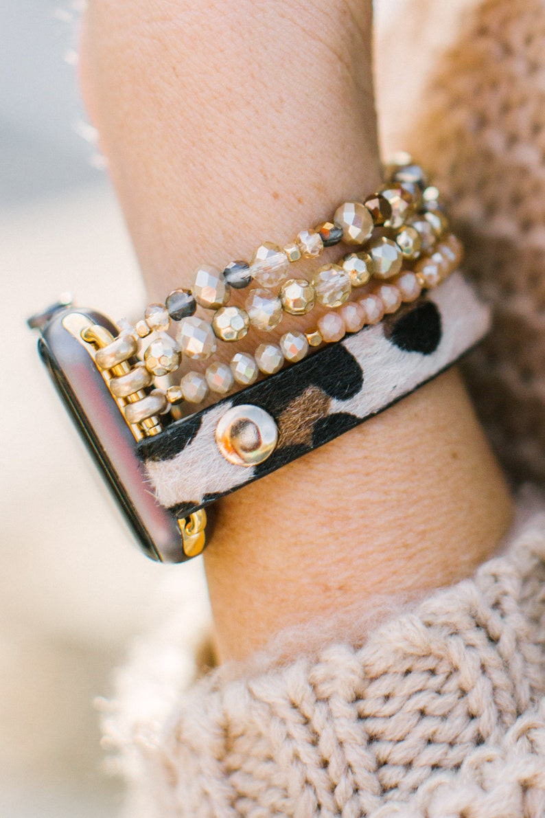 Leopard Calf Leather and Crystal Apple Watch Band Brown/shown on model