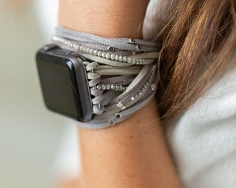 Apple Watch band, Grey, Gray Suede wrap Apple Watch band, wrist wrap bracelet, wrap bracelet band, leather wrap, 38 mm, 40mm, 42mm, 44mm