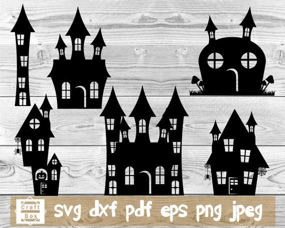 Halloween House Svg Clipart Halloween Scenes Svg Halloween Etsy