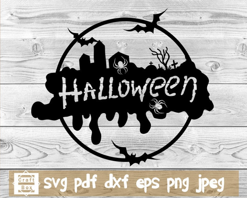 halloween scene svg halloween decal svg halloween silhouette scary graveyard svg Halloween design svg graveyard svg halloween circle